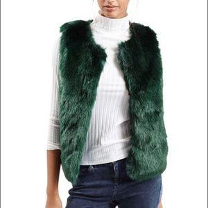 Green Faux Fur Vest by Topshop